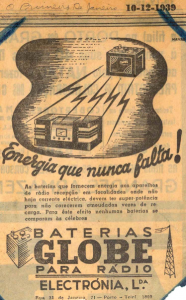Globe Radio Battery 1939