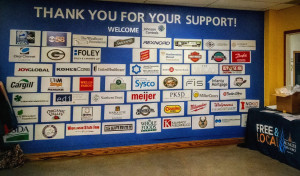 Company names on the wall with a welcome to Johnson Controls
